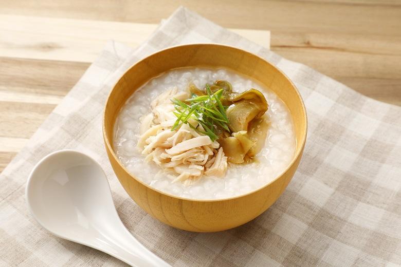 鶏ささみとザーサイの中華風粥