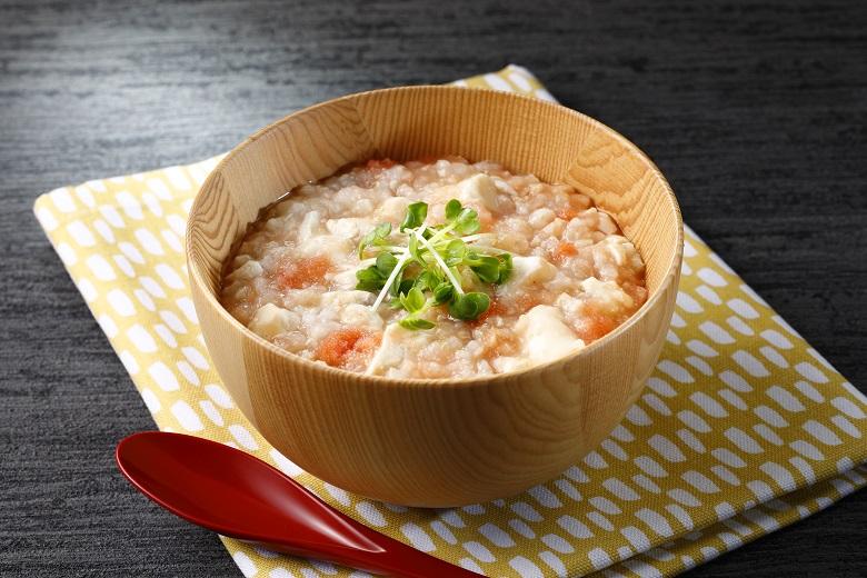 明太子と豆腐の発芽玄米おかゆ
