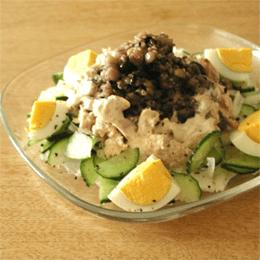 雑穀のクリ-ミィーソースサラダ