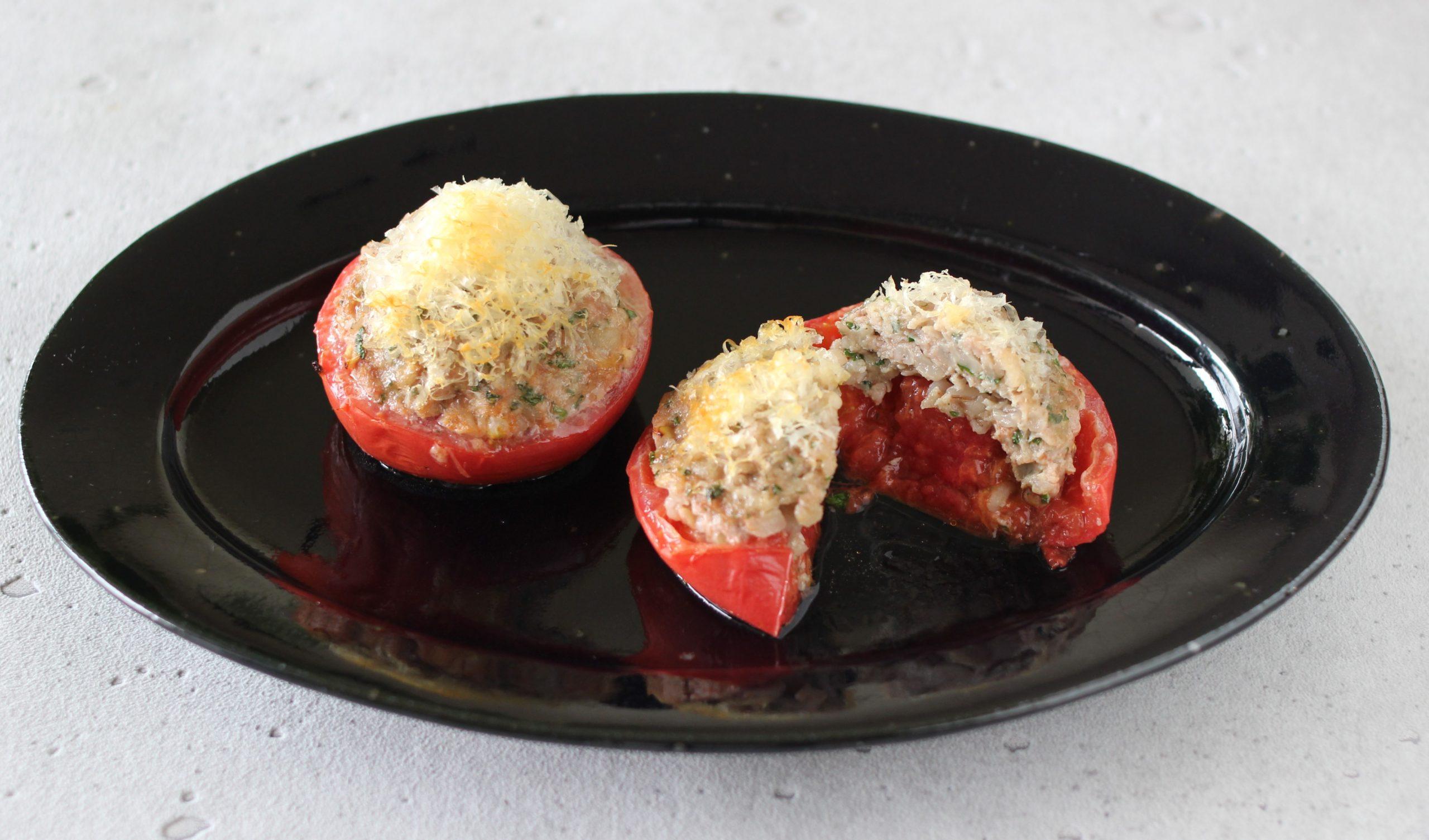 トマトの肉詰め もち麦入り