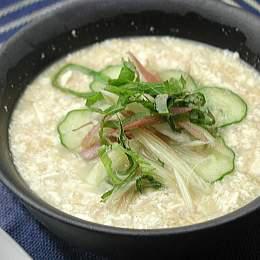 発芽玄米と納豆の冷汁風