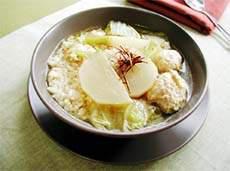 鶏団子と五穀のスープごはん ピリ辛韓国風