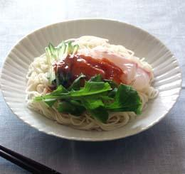 鯛のサラダそうめん韓国風ピリ辛だれ